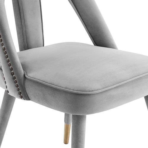 Petra Light Grey Velvet Side Chair