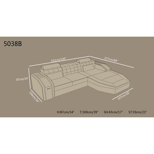 Divani Casa 5038B Modern Grey Bonded Leather Sectional Sofa