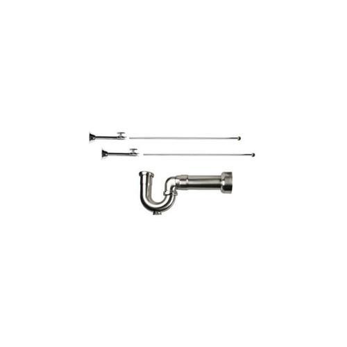 Mountain Plumbing - Lavatory Supply Kit w/ Massachusetts P-Trap - Straight Sweat - Brass Oval Handle - Traditional - Satin Brass