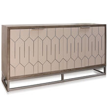 FOUR DOOR SIDE BOARD  72in w X 39.5 ht X 19in d  Solid Wood Sideboard Stained Gray with Abalone Do
