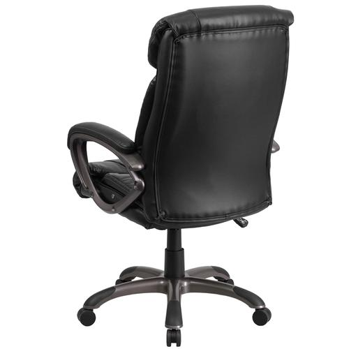 High Back Black Leather Executive Swivel Office Chair with White Stitch Trim