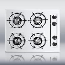"""See Details - 24"""" wide cooktop in white, with four burners and battery start ignition"""
