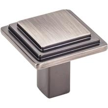 "1-1/8"" Overall Length Stepped Square Cabinet Knob."
