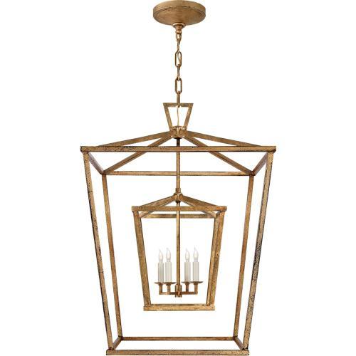 Visual Comfort CHC2179GI E. F. Chapman Darlana 4 Light 24 inch Gilded Iron Foyer Lantern Ceiling Light