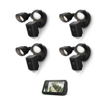 See Details - 4-Pack Floodlight Cam Wired Plus with Echo Show 5 (Charcoal) - Black