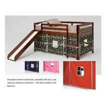 See Details - Pine Ridge Tent Bed with Slide with options: Chocolate, Red