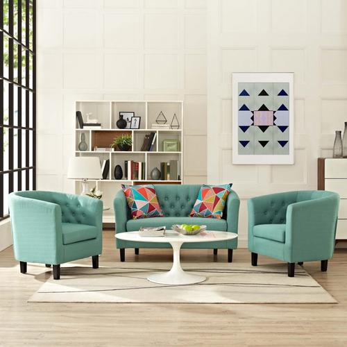 Modway - Prospect 3 Piece Upholstered Fabric Loveseat and Armchair Set in Laguna