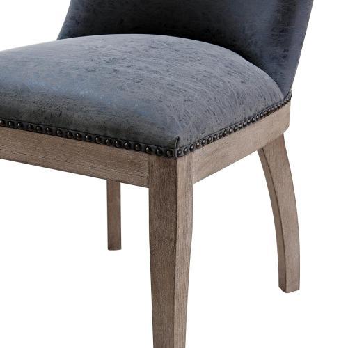 Dorsey PU Dining Side Chair Drift Wood Legs, Nubuck Charcoal