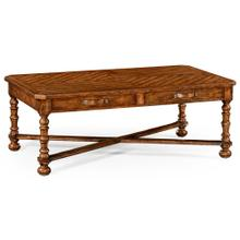 Heavily distressed parquet coffee table with strap handles
