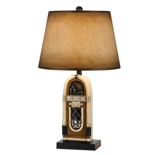 150W 3 Way Jukebox Resin Table Lamp With Hand Painted Paper Shade
