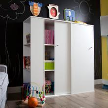 Crea - Kids Storage Cabinet with Sliding Doors, Pure White