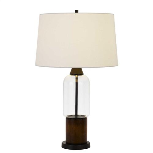 Bron 150W 3 Way Pine Wood/Glass Table Lamp