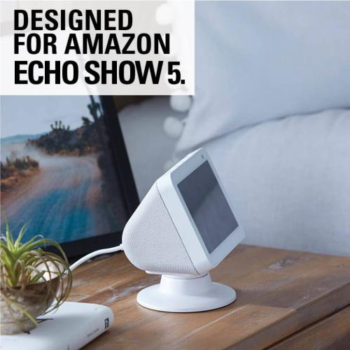 White Amazon Echo Show 5 Stand - Adjustble Tilt & Swivel