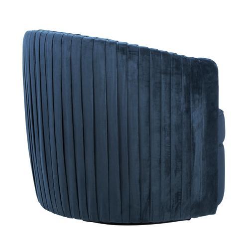 Pleated Velvet Swivel Accent Chair in Navy Blue