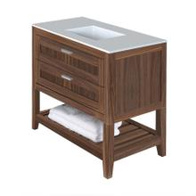 Free standing under-counter vanity with two drawers(knobs included) and slotted shelf in wood. Under-mount sink 5452UN, stone countertop H283T are not included.