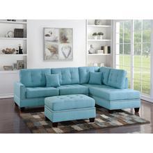 Amelia 3pc Sectional Sofa Set, Teal Blue