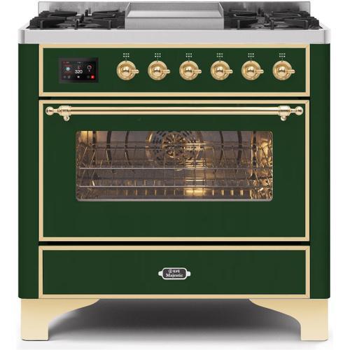 Ilve - Majestic II 36 Inch Dual Fuel Liquid Propane Freestanding Range in Emerald Green with Brass Trim