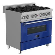 "ZLINE 36"" Professional Dual Fuel Range in DuraSnow® Stainless Steel with Color Door Finishes (RAS-36) [Color: Blue Gloss]"