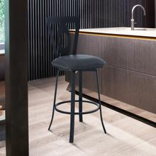 """View Product - Lola Contemporary 30"""" Bar Height Barstool in Matte Black Finish and Grey Faux Leather"""