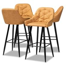 See Details - Baxton Studio Catherine Modern and Contemporary Tan Faux Leather Upholstered and Black Metal 4-Piece Bar Stool Set