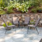 4 Pack Brazos Series Brown Outdoor Stack Chair with Flex Comfort Material and Metal Frame Product Image