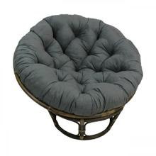 Bali 42-inch Rattan Papasan Chair with Microsuede Fabric Cushion - Walnut/Steel Grey