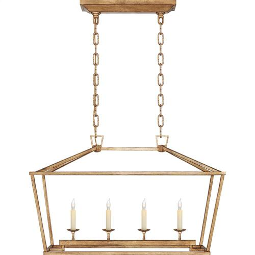 Visual Comfort CHC2168GI E. F. Chapman Darlana 4 Light 30 inch Gilded Iron Linear Lantern Ceiling Light, Small