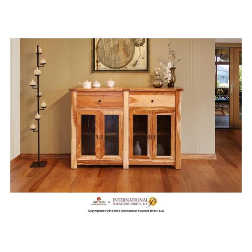 """Artisan Home Furniture - 60"""" Console w/4 Glass doors, 2 drawers"""