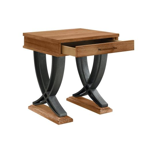 1-drawer and Two Wishbone Legs Side Table, Brown