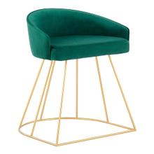 View Product - Canary Upholstered Vanity Stool - Gold Steel, Green Velvet