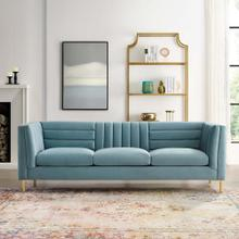 Ingenuity Channel Tufted Performance Velvet Sofa in Light Blue