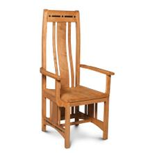 Aspen Arm Chair with Inlay, Wood Seat, Cherry #26 Michael's, Wood Seat
