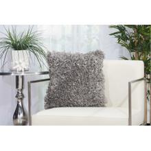 "Shag Dl660 Silver Grey 1'5"" X 1'5"" Throw Pillow"