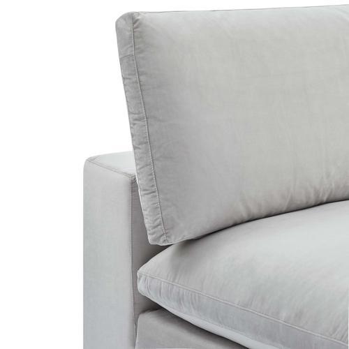 Commix Down Filled Overstuffed Performance Velvet Armless Chair in Light Gray