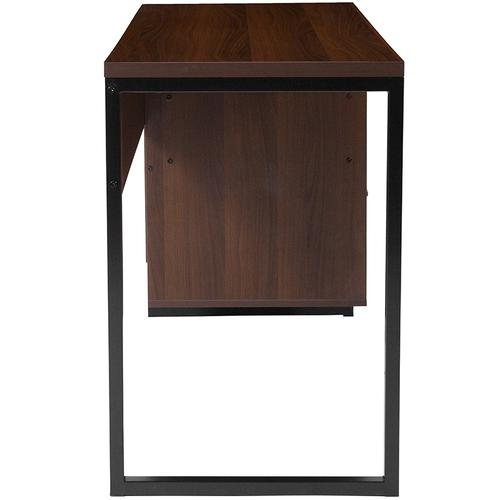 Flash Furniture - Northbrook Rustic Coffee Wood Grain Finish Computer Desk with Black Metal Frame