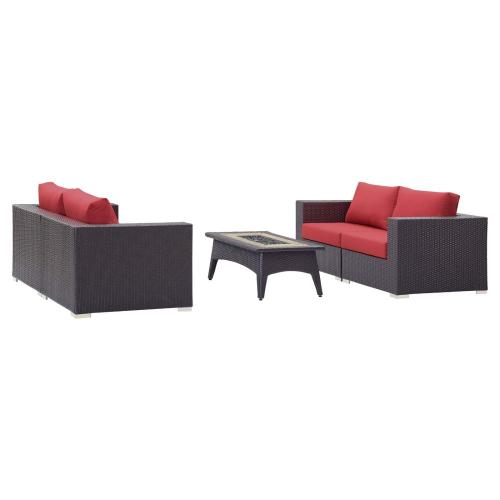 Convene 5 Piece Set Outdoor Patio with Fire Pit in Espresso Red