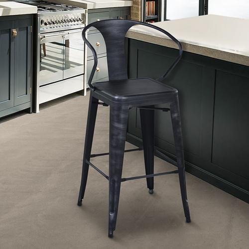 "Armen Living Berkley 26"" Barstool in Industrial Gray Steel finish and seat"