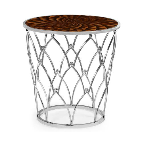 Stainless steel base with feather inlay
