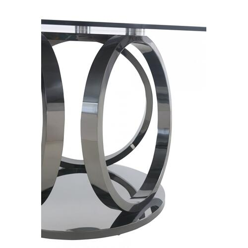 Modrest Enid - Modern Smoked Glass & Black Stainless Steel Round Dining Table