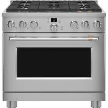 """See Details - Café 36"""" Smart All-Gas Commercial-Style Range Stainless Steel"""
