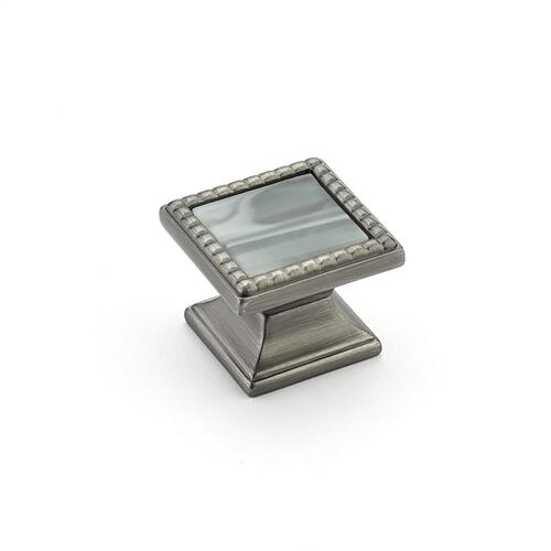 "Kingsway, Knob, Square, 1-1/4"" dia, Antique Nickel, Greystone Glass"