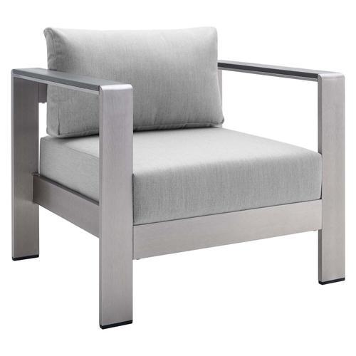 Shore Sunbrella® Fabric Aluminum Outdoor Patio Armchair in Silver Gray