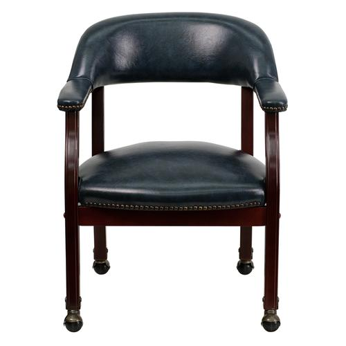 Gallery - Navy Vinyl Luxurious Conference Chair with Accent Nail Trim and Casters