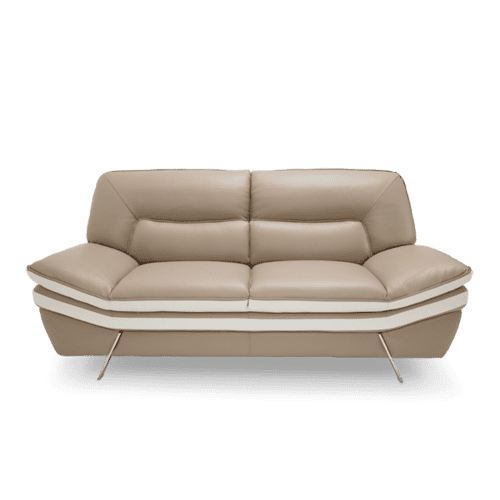 Carlin Leather Match Loveseat in Mocha w/Stainless Steel Legs