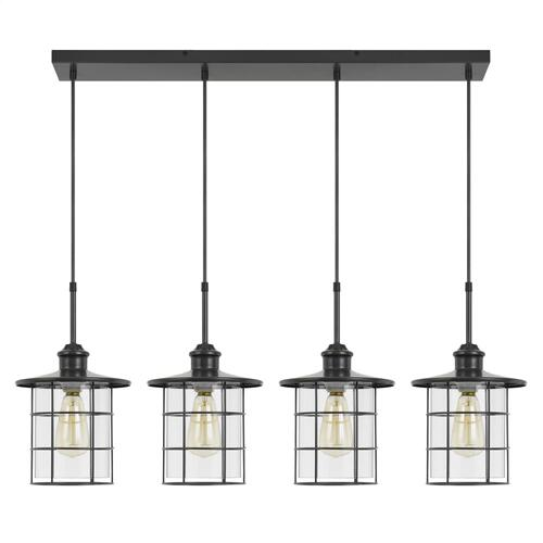 60W x 4 Silverton metal/glass pendant fixture (Edison bulbs NOT included)