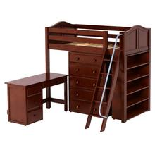 High Loft w/ Angle Ladder, 5 Drawer Dresser, Desk & Bookcase : Twin : Chestnut : Curved