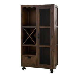 See Details - Industrial Chocolate / Brown finish Tall Curio