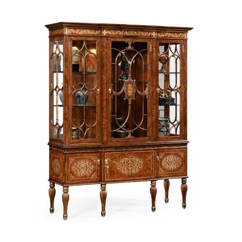 Burl & mother of pearl display cabinet