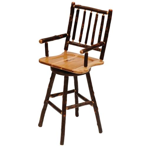 """Product Image - Swivel Barstool with Arms - 30"""" high - Natural Hickory - Wood Seat"""