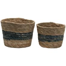Blue Stripe Natural Baskets Large, Set of 2